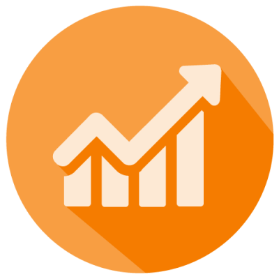 Icon of a bar graph with an upward arrow