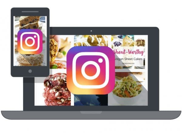 Mobile phone and laptop graphic with Instagram logo icons