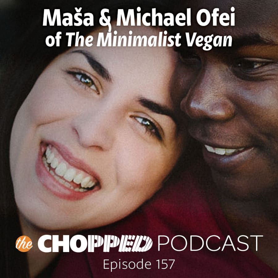A headshot of Masa and Michael Ofei. The text reads: Masa and Michael Ofei of the Minimalist Vegan.