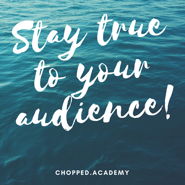 "A photo of the ocean with the words, ""Stay true to your audience!"""