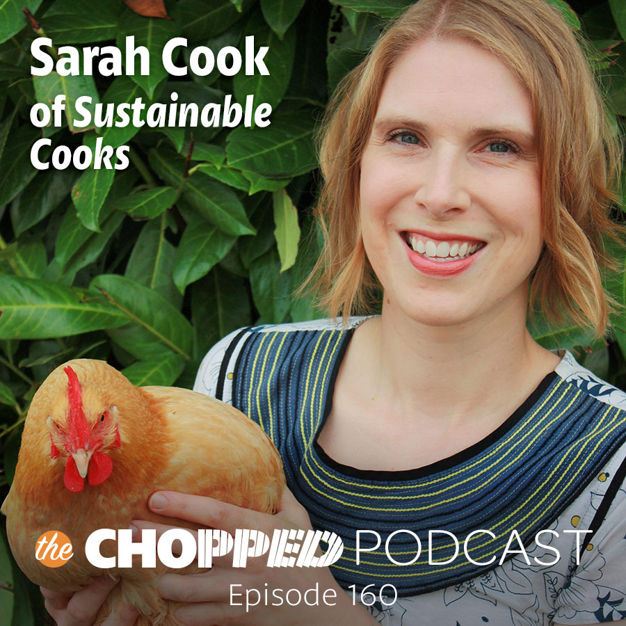 A photo of Sarah Cook holding a chicken with the text Sarah Cook of Sustainable Cooks.