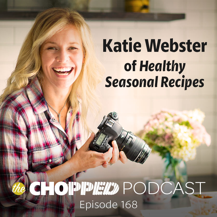 "A photo of a woman holding a camera shows the words, ""Katie Webster of Healthy Seasonal Recipes."""