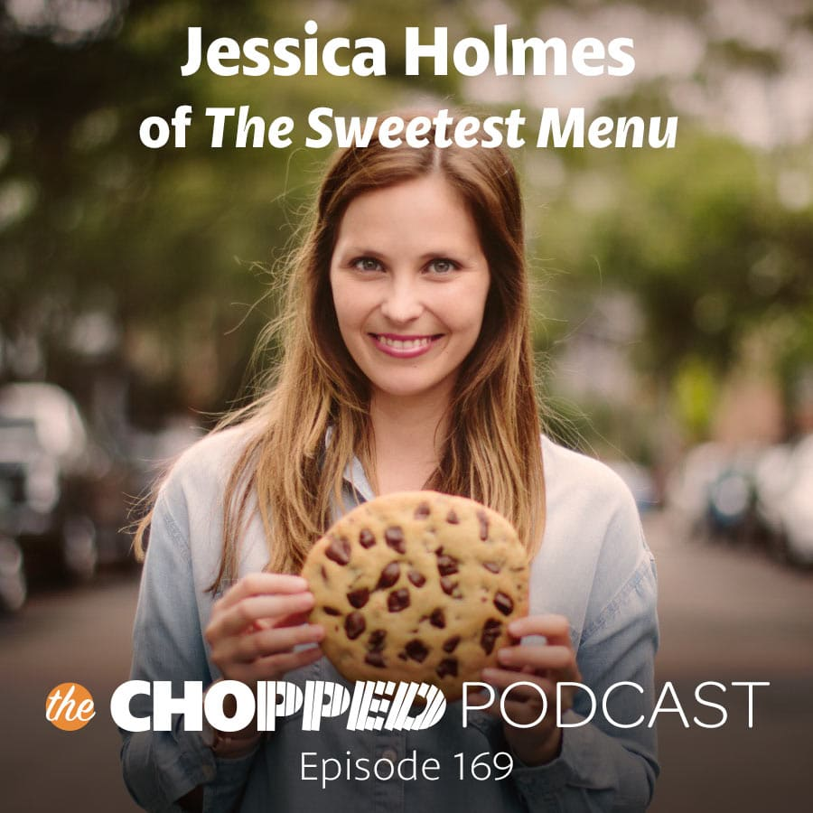 A photo of Jessica Holmes holding a cookie with text indicating she's a guest on the Chopped Podcast.